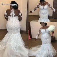 vestidos de noiva africano para venda venda por atacado-2018 Luxo Africano Sereia Vestidos de Casamento Apliques de Renda Manga Longa Plus Size vestidos de casamento Venda Quente