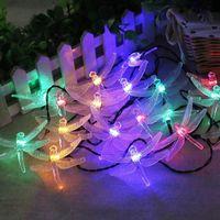 ingrosso luci fatate-Solar Christmas Lights 4.9M 20 LED 8 modalità Solar Dragonfly Fairy String Lights for Xmas Party Decorations Lampada solare esterna