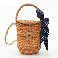 ленточная корзина оптовых-Летняя пляжная сумка топ-ручка сумки богемные соломенные сумки с лентой для дам женские ротанговые корзины женщины ротанг сумки Lw-109