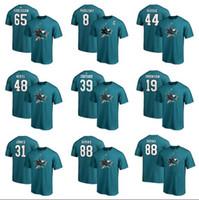 namenshemden marken großhandel-San Jose Sharks Fanatics der kundenspezifischen Männer brannten schwarzes authentisches Stapel-Logo-Namenszahl-T-Shirt ein