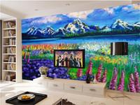 papel tapiz morado para sala de estar al por mayor-Custom 3D Photo Wallpaper Mural Living Room Sofa TV Telón de fondo Mural Purple Lavender Flower Field picture Wallpaper Mural Sticker Home Decor