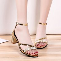 d9e249e865d1 2019 Summer New Style with Thick Rhinestones Gold Sandals Womens Buckle Bag  with Roman Shoes Sexy Womens Shoes Tide Womens Shoes High heels