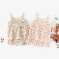 trajes de bebé bloomer al por mayor-INS Baby Girls Clothes Trajes Niñas Leopard Leaf Tops + Bloomers 2pcs Set Ruffles sin mangas cuello vuelto Ropa de verano para niños para 9M-3T