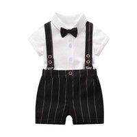 costume d'été bébé barboteuse achat en gros de-Ins nouveau-né bébé garçon vêtements nouveau-né tenues garçons costumes été garçons ensembles de vêtements bébé garçon vêtements de concepteur costume de bébé costume barboteuse + shorts A5577
