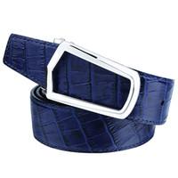 формальные синие пояса оптовых-Men's Genuine Leather Crocodile Belt with Personalized Buckle Formal Male Designer Blue Waist Belts