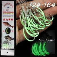 60pcs 12#-16# Luminous Maruseigo Hook (With Fishing Lines) High Carbon Steel Barbed Fishing Hooks Fishhooks Pesca Carp Fishing Tackle B7_25