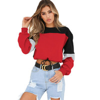Wholesale lovely ladies clothes for sale - Women Stitching Sweatshirts Lovely Ladies Seven color Stitching Round Neck Straps Sweater Autumn Clothing