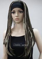 ingrosso fascia marrone della treccia-WIG LL 00190 Fashion Medium Brown Mixed Trecce artificiali con 3/4 mezza parrucca