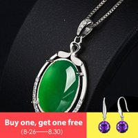 Wholesale chalcedony necklaces for sale - Group buy NOT FAKE S925 Sterling Silver Emerald jade Pedants Artisan Myanmar Antique For necklace Chalcedony Green