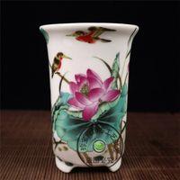 flores de imitación de china al por mayor-Imitación de la República de China, pastel, hoja de loto, patrón de loto, maceta, flor de porcelana antigua.