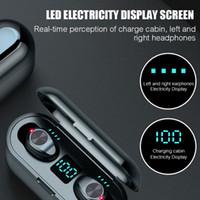 iphone argenté achat en gros de-F9 TWS sans fil écouteurs numérique LED Affichage Bluetooth V5.0 Bluetooth écouteurs casque Avec 2000mAh Power Bank Headset navire DHL