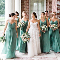 Wholesale pastel mints for sale - Mint Green Cheap Bridesmaids Dresses Chiffon Pleats Maid of Honor Gowns For Country Garden Weddings A Line Spaghetti Straps Long BM0390
