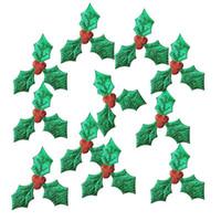 ingrosso albero di frutta multi-100 pz / pacco albero di natale decorazione forniture artigianali 100 pz 3 cm frutta rossa con foglie verdi fai da te arte accessori in tessuto