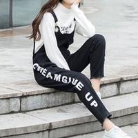 macacao jeans großhandel-Jeans Hosen Frauen 2019 Herbst Jeans Damen Hosen Macacao Feminino Pluderhosen Body Mujer Wörter Drucken Weiblich