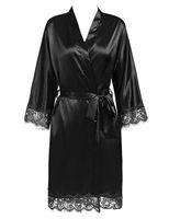 damen nachtwäsche kleider großhandel-Sexy Ladies 'Lace Satin Robe Kleid Solid Soft Nachthemd Nachtwäsche Kimono Bademantel Nachtwäsche Hochzeit Braut Brautjungfer Roben