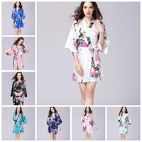 Wholesale japanese sexy clothing online - 12 Colors Sexy Women s Japanese Silk Kimono Robe Pajamas Nightdress Sleepwear Broken Flower Kimono Underwear Home Clothing CCA10956