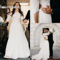 Wholesale long lace informal wedding dress resale online - Champagne A line Ivory Lace Wedding Dresses With Half Sleeves Jewel Short Sleeves Informal Wedding Gown Country Bridal Gowns Sleeved