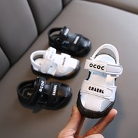 Wholesale closed toes sandals for sale - Group buy New summer kids shoes Closed toe boys sandalsToddler girls First Walkers pu leather baby beach sandals SYJ013