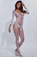 ingrosso aprire le coste calde-Sexy girocollo Body con apertura sul cavallo Intimo a rete Bodystocking Crotchless Intimates Sleepwear Camicia da notte Pigiama donna Hot Onesie