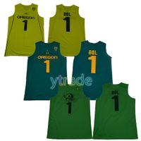 camiseta de baloncesto nueva llegada al por mayor-NCAA # 1 Bol Bol Oregon Ducks College Camisetas de baloncesto Hombres Verde Amarillo Recién llegado Hombres Bol deportes Universidad Camisas
