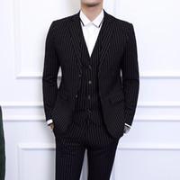 calça preta colete cinza venda por atacado-Cinza Azul Preto Homens Listrado Blazer jaqueta com Calças Colete Colete Asiático Tamanho S-6XL Homens Vestido 3 Peça Set