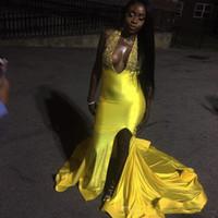 vestidos de fiesta de seda abierta al por mayor-Seda como el satén Agujero dominante Sexy espalda abierta Sirena Vestidos de noche Vestidos de fiesta africanos amarillos vestido de noche abendkleider lange 2018