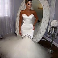 Wholesale wedding dress chapel length tulle train resale online - Modest Arabic Mermaid Wedding Dresses Sweetheart Crystals Chapel Train Custom Made Garden Plus Size Country Bridal Gowns