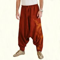 Wholesale black linen trousers men online - Hip Hop Aladdin Hmong Baggy Cotton Linen Harem Pants Men Women Plus Size Wide Leg Trousers New Casual Pants Cross pants Fashion