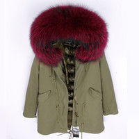 Wholesale white fur trim for coats resale online - maomaokong brand Wine red raccoon fur trim hoody army green canvas long parkas women down jackets down fill coats snow coats for sale