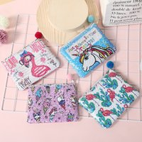 Wholesale pencil ball online - 4styles unicorn flamingo sequin Clutch bag cartoon pencil bag fur ball pendant bag Wallet pencil cosmetic holder kids gift FFA1422