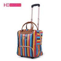 ingrosso borse cerchi donna-New Hot Fashion Women Trolley Bagagli Rolling Suitcase Brand Casual Stripes Custodia da viaggio valigia su ruote Bagaglio valigia