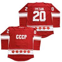 ingrosso jersey russia-20 Vladislav Tretiak Russia Jersey 1980 CCCP Russia Hockey su pellicola Jersey Rosso Maglie di film Cucite Veloce Spedizione gratuita