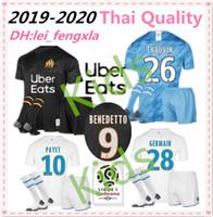 marsella fútbol al por mayor-Equipación para niños 19 20 Olympique de Marseille BENEDETTO Camiseta de fútbol 2019 2020 OM Marseille Maillot De Foot PAYET L.GUSTAVO THAUVIN camisetas de fútbol