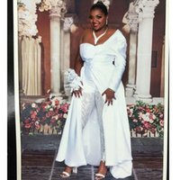 Wholesale amazing blue wedding dresses for sale - Group buy Amazing White Jumpsuit Wedding Dresses One Shoulder Long Sleeves Bridal Gowns Floor Length Satin vestido de novia