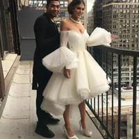 привет низкие платья выпускного вечера пухлые оптовых-2020 White Robe де вечер Милая Коктейль Короткие платья выпускного вечера Привет Low Puffy рукава Вечернее платье