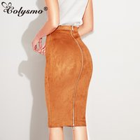 Wholesale womens faux leather dresses for sale - Group buy Colysmo Autumn Suede Midi Skirt High Waist Faux Leather Skirt Winter Skirts Womens Two way Zipper Through Pencil Skirt Saia Midi