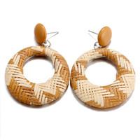 ingrosso orecchini di apertura-Carino orecchini a cerchio rotondo per donne temperamento doppio stile etnico per gli orecchini a cerchio intrecciato Openwork di regalo amico