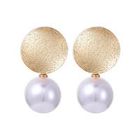 pendientes colgantes de perlas de oro blanco. al por mayor-Nuevo color oro grande redondo blanco perla cuelga los pendientes para las mujeres regalos de las muchachas de moda joyería de gota pendiente