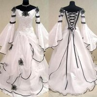 Wholesale bell line wedding dress for sale - Group buy Vintage Black And White Wedding Dresses Gothic Vestidos De Novia Celtic Bridal Gowns with Long Bell Sleeves