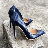 насосы для дам оптовых-Итальянский стиль женщины заостренный носок высокие каблуки блеск лакированная кожа туфли на шпильках дамы сплошной цвет туфли на высоком каблуке обувь темно-синий