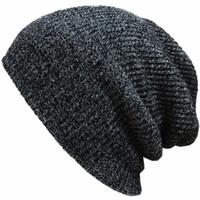 ingrosso pipistrello a slitta-Donna Uomo Slouch Skull Oversize Long Beanie Baggy Cap Crochet lavorato a maglia berretti da sci cappello