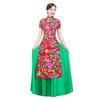 chinesisches traditionelles kleid grün großhandel-Rot Grün Chinese Traditional Frauen Aodai Qipao Weinlese-Cheongsam Neuheit Chinese formales Kleid plus Größe M L XL XXL 3XL 4XL 5XL