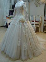 свадебные платья ручной работы оптовых-Высокая шея бальное платье свадебное платье кружева с длинными рукавами свет шампанского органзы плюс размер мусульманские свадебные платья с цветком ручной работы