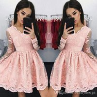 Wholesale full white graduation dress resale online - Pink Vintage V Neck Short Cocktail Dresses Sheer Long Sleeves Full Lace Tulle Formal Party Wear Cheap Homecoming Dress Graduation Wear