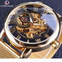 Wholesale man steel 3d resale online - Forsining Transparent Case Fashion D Engraving Golden Stainless Steel Men Mechanical Watch Top Skeleton Shipping
