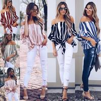 moda de estampado de cebra al por mayor-Las mujeres atractivas del hombro fuera de las camisetas de zebra Puff manga corta de manera femenino de la gasa de la camiseta de las rayas verticales camiseta