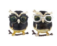 Wholesale vintage lucite brooch pin resale online - Vintage Personality Sandblasting Owl Brooch with Glasses Female and Male Same Style Pins Brooches Gift X1076