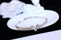 Wholesale costume jewelry snake bracelets for sale - Group buy Best European Brand Letter V Bangle Bracelet Luxury Zircon Charms Bangles For Women Party Fine Jewelry Costume Accessories