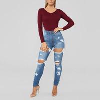meias leggings venda por atacado-Mulheres Buraco Rasgado Calça Jeans Plus Size Calças Mid-rise Primavera Fino Apertado Leggings Cintura Selvagem Mulheres Calças Casuais Slim Jeans S-2XL