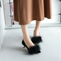 Wholesale female shoe party online - Designer Dress Shoes Women Pumps Girl fur high heels autumn new female scoop small with single female cm cat with
